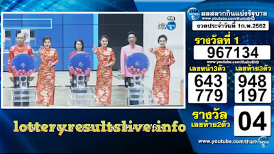 Thailand Lottery Results Today 01 February 2019 Live Online