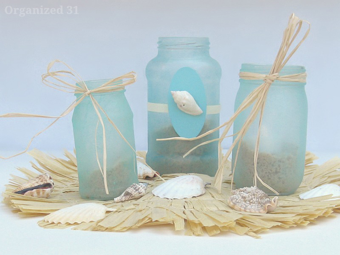 5 Ideas For A Great Beach Themed Wedding In Puglia: I Should Be Mopping The Floor: Painted Mason Jar Crafts