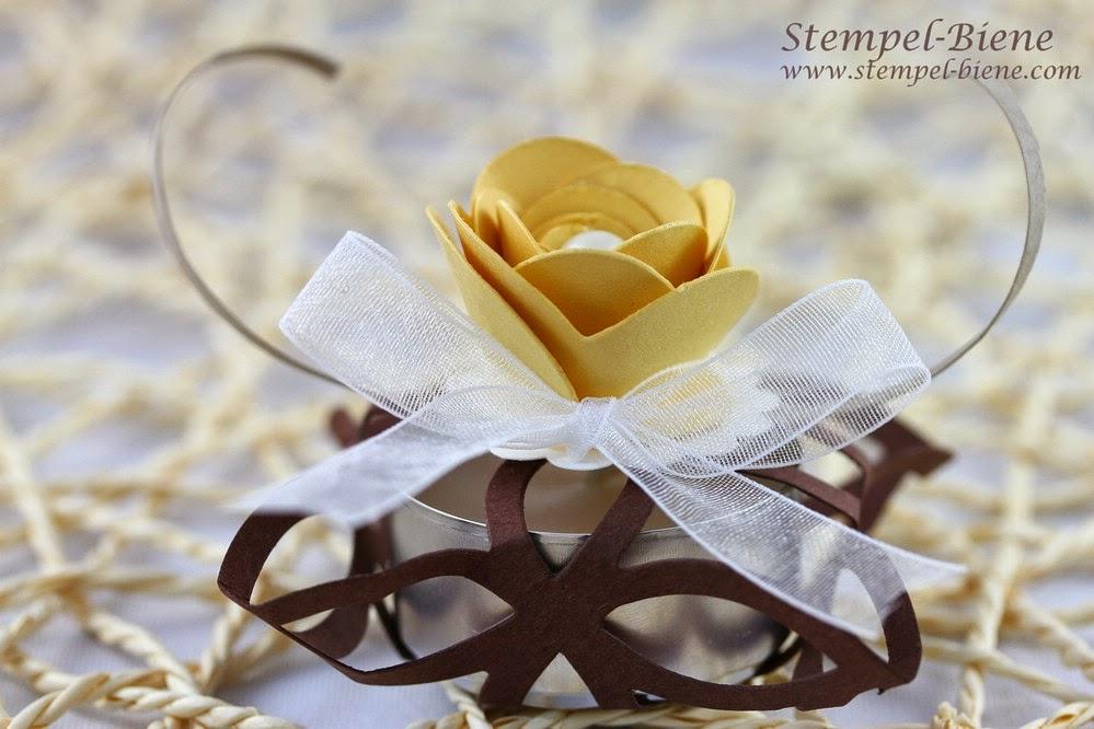 Hochzeitsgeschenk für Gäste basteln, Bigz elegantes Gitter, Originals Spiralblume, Goodie mit Teelicht, Stampin Up bestellen, Stampin Up Jahreskatalog 2014, Stampin Up Recklinghausen