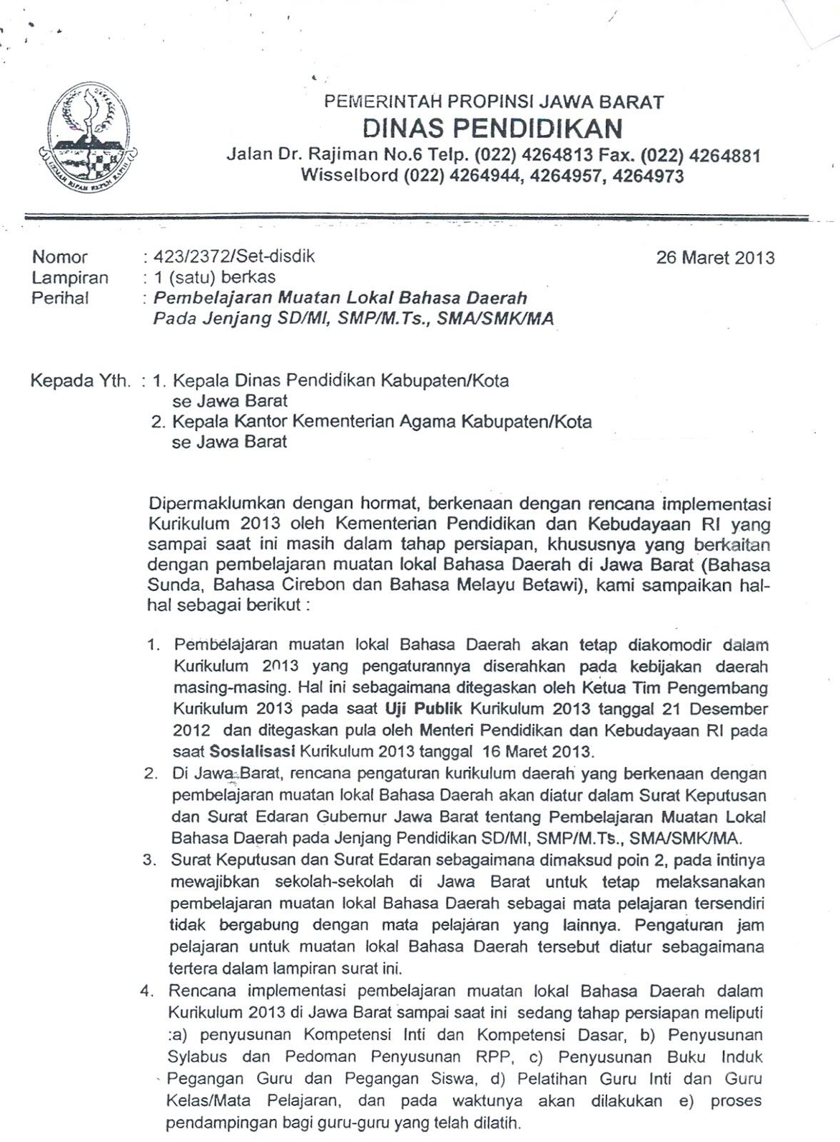 Musyawarah Kerja Kepala SMK Kota Bandung: Surat Kepala ...