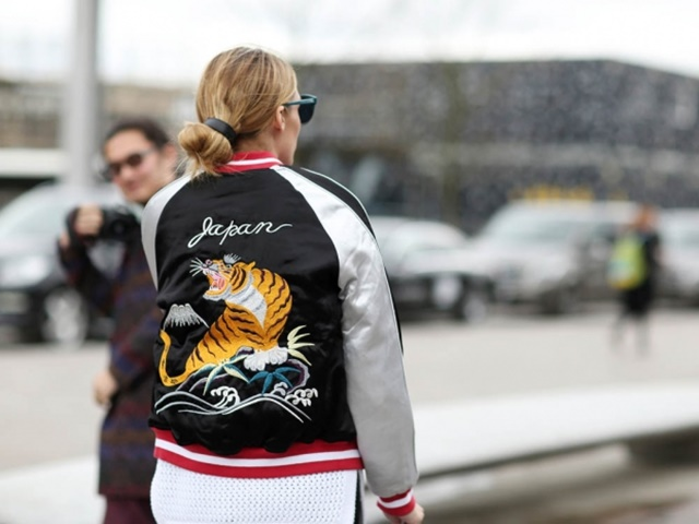 2066fa9b39d Olivia Palermo at London Fashion Week in a Topshop bomber jacket