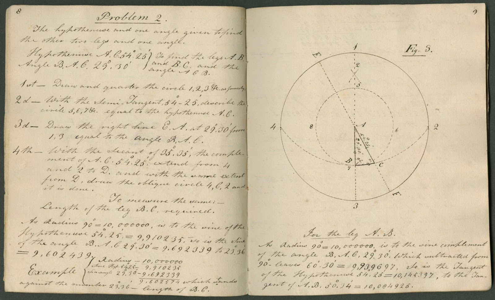 An open book of handwritten text and geometric figures.