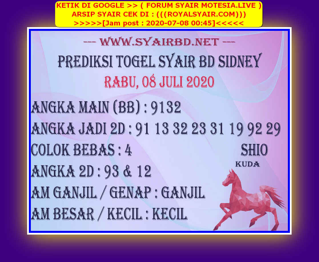 Kode syair Sydney Rabu 8 Juli 2020 194