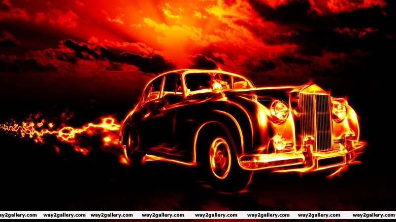 Vintage car in fire wallpaper