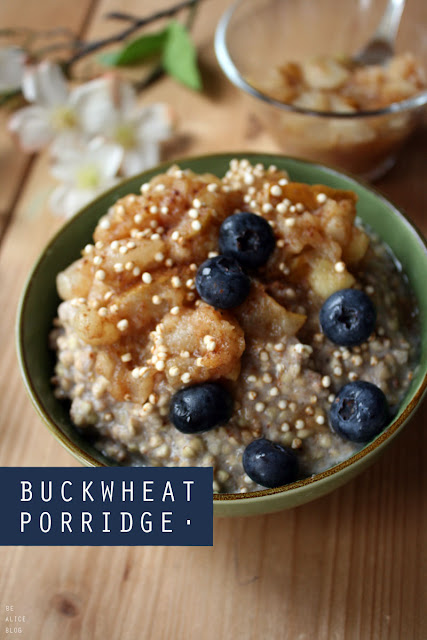 vegan gluten-free dairy-free buckwheat porridge oatmeal with apple pear compote breakfast