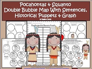 https://www.teacherspayteachers.com/Product/A-Pocahontas-And-Squanto-Double-Bubble-With-SentencesPuppets-Graph-404847