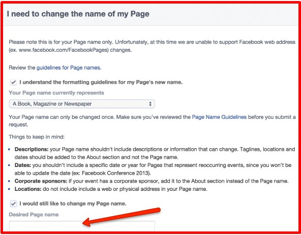 how to change a facebook page name with more than 200 likes