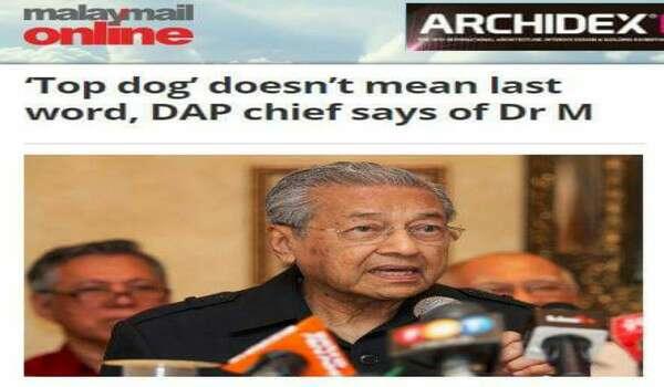 'Top Dog' Tidak Bermaksud Boleh Membuat Keputusan, Kata Pemangku Pengerusi DAP Kepada  Mahathir
