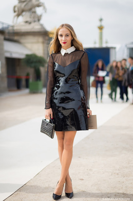 patent leather dress street style