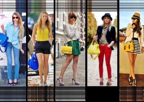 Fashionistas e modelos usando bolsas combinando com o look.