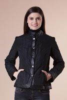 Jacheta neagra cu insertie din piele ecologica SERENA