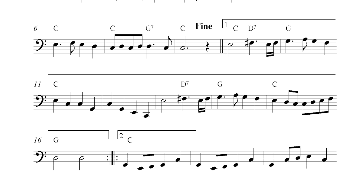 Trumpet Voluntary, free cello sheet music notes