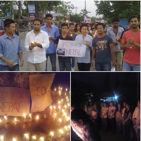 North East Students Dehradun in candle march for Nepal Quake victims
