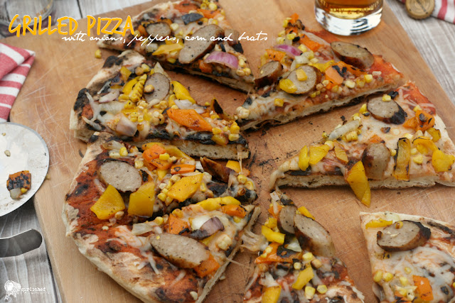 Grilled Pizza w/ Onions, Peppers, Corn, and Brats
