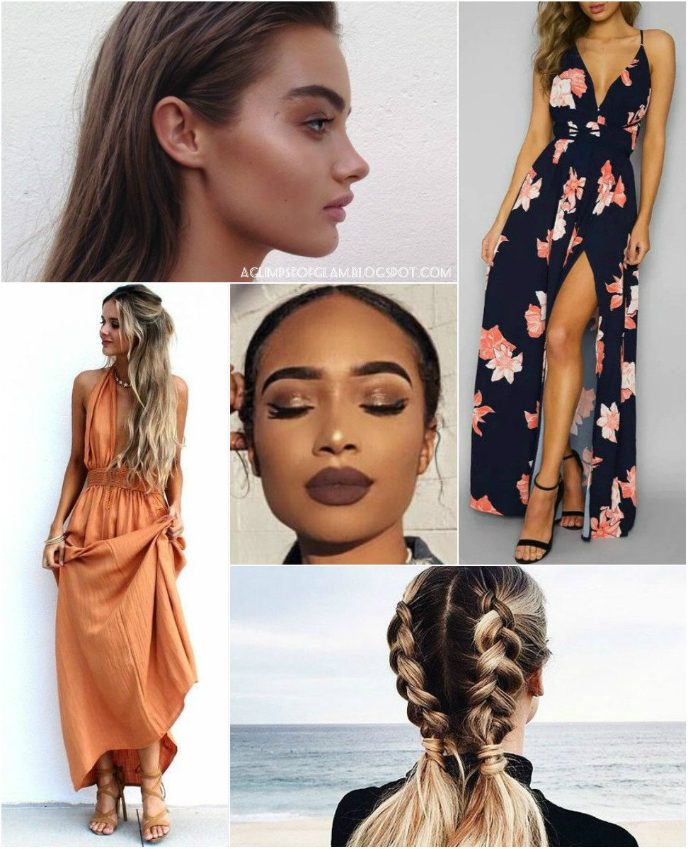 A Glimpse of Glam, Style Inspiration, Summer Events, Floral, Bohemian, Bright Prints, Patterns, Braids, Bronze Makeup, Contour, Highlight - Andrea Tiffany