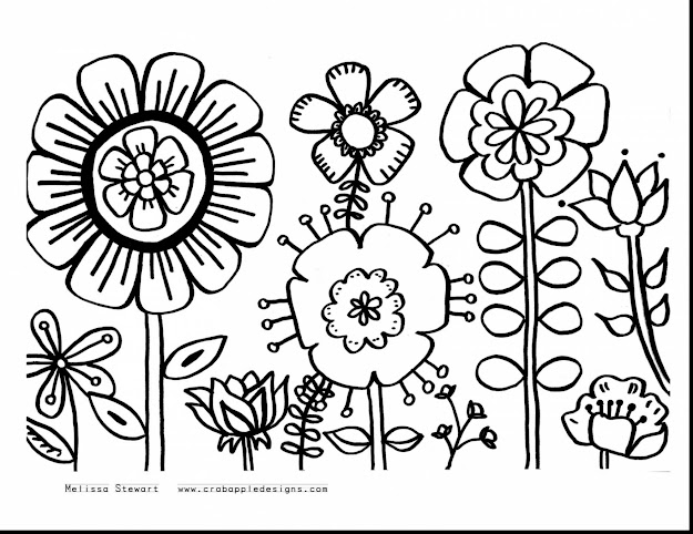 Good Summer Flower Coloring Pages Printable With Free Printable Flower  Coloring Pages For Adults And Free