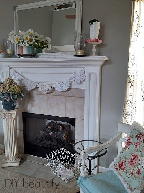 Spring Mantle with a Vintage Touch www.diybeautify.com