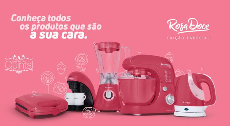 Linha Rosa Doce da Cadence na Cozinha do Quintal