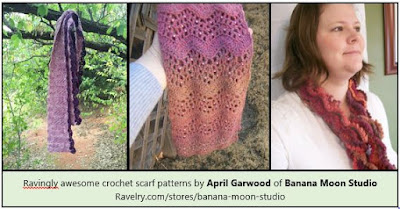 Crochet scarf patterns by April Garwood of Banana Moon Studio