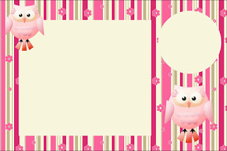 Pink Owl With Flowers and Stripes: Free Printable Invitations for Quinceanera Party.