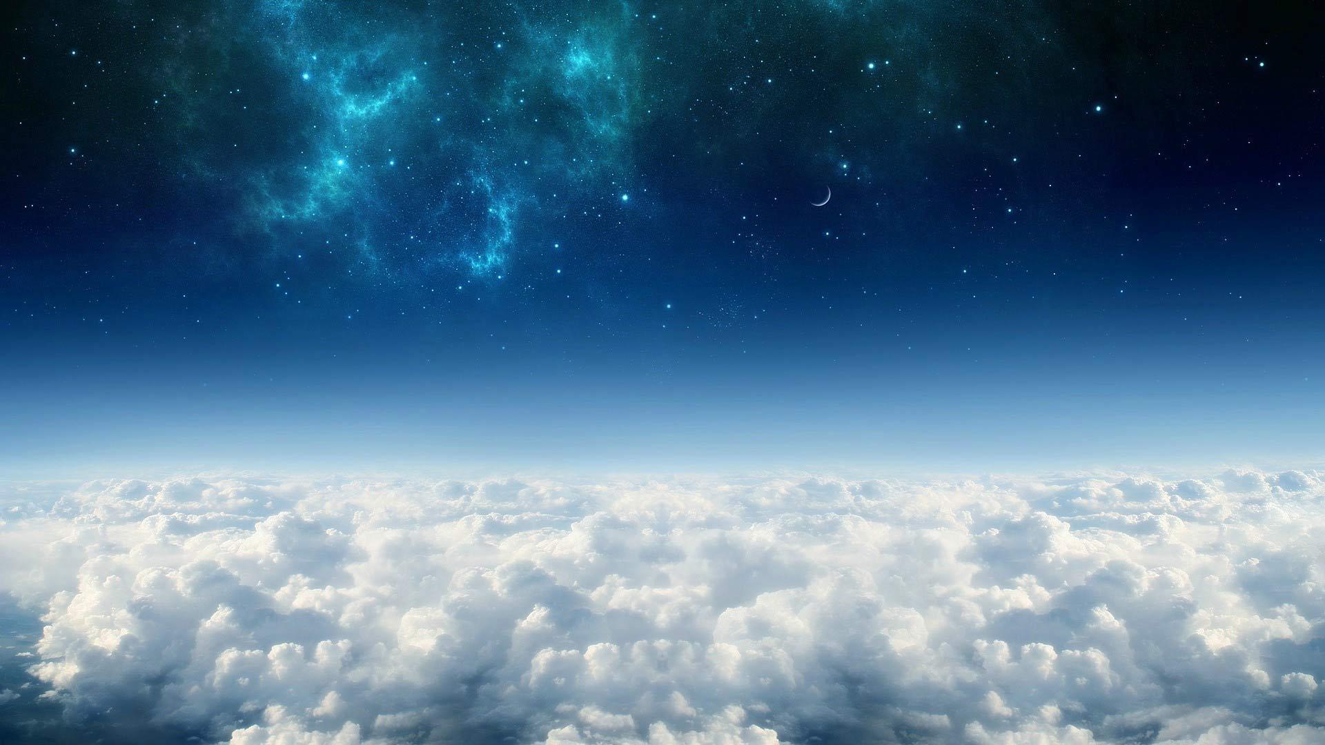 Papel De Parede C 233 U Estrelado Com Nuvens Papel De Parede