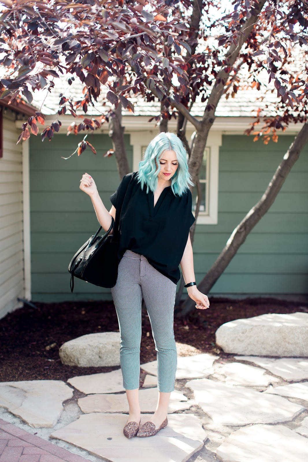 Glitter Shoes, Blue Hair, Business Casual Outfit