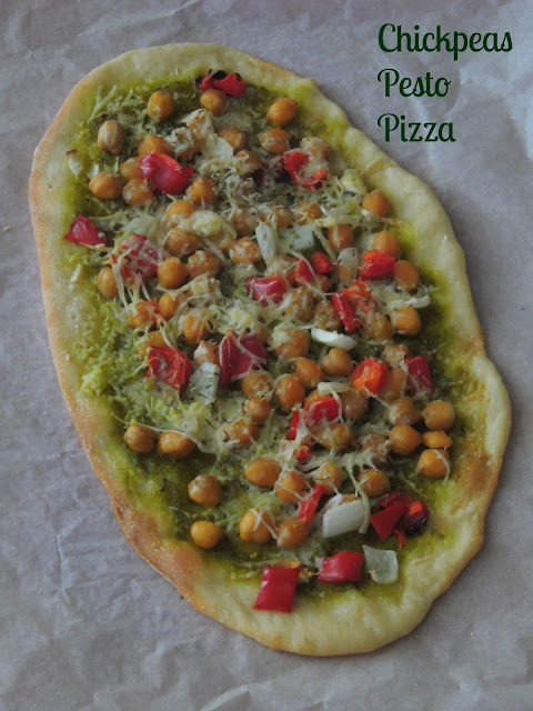 Chickpeas Pesto Pizza Chickpeas Thin crust pizza