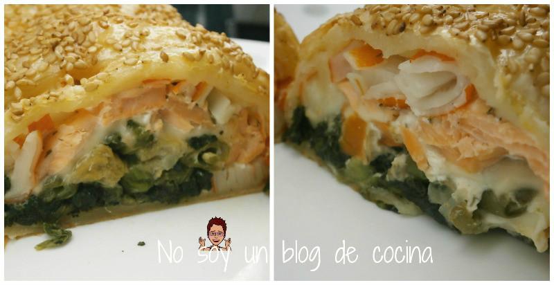 Rollo de verduras, salmón y queso