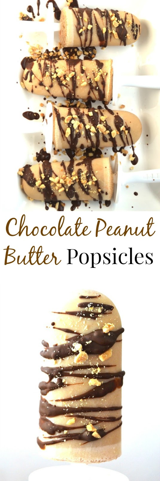 These Chocolate Peanut Butter Popsicles are  topped with drizzled chocolate and peanuts and are simple to make with only 6 ingredients! www.nutritionistreviews.com