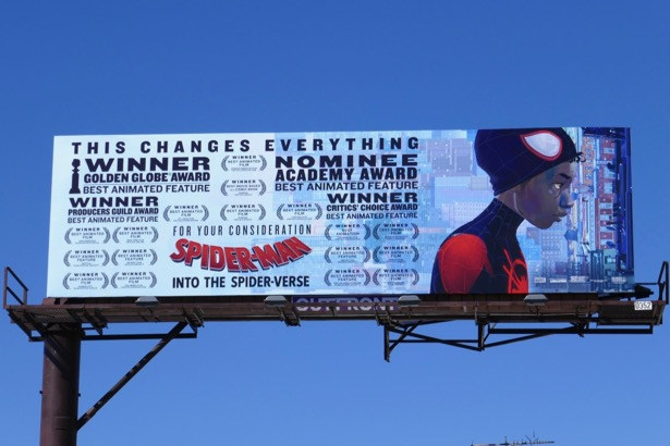 SpiderMan Into Spider-Verse Oscar nominee billboard