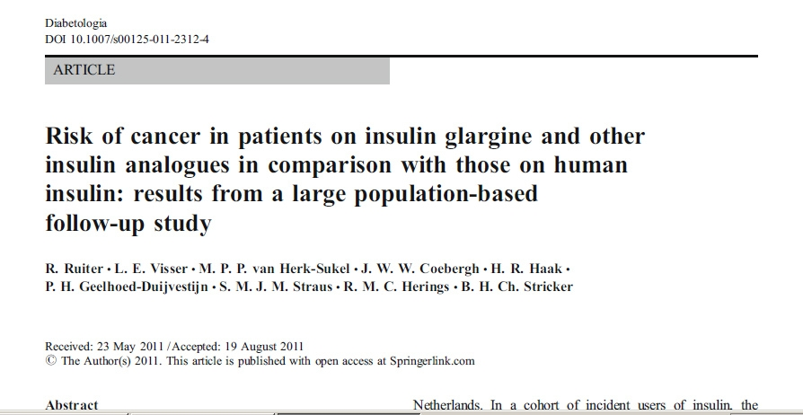 insulina tipo 1 diabetes tasas de cáncer