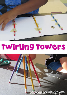 STEM Challenge: Build a tower, but it has to have a part that twirls! Take a look at this blog post for more about the great pencil challenges!