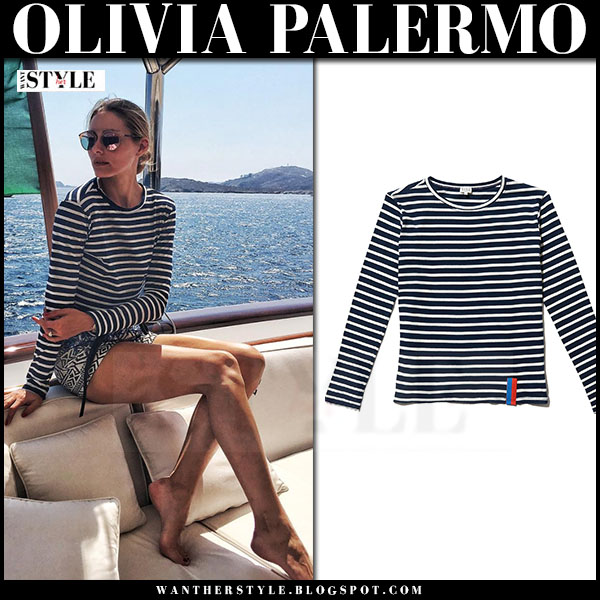 Olivia Palermo in striped long sleeve kule top and printed shorts what she wore yacht greece