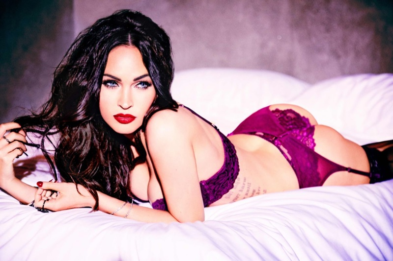 Megan Fox poses in bed wearing lingerie set from Frederick's of Hollywood