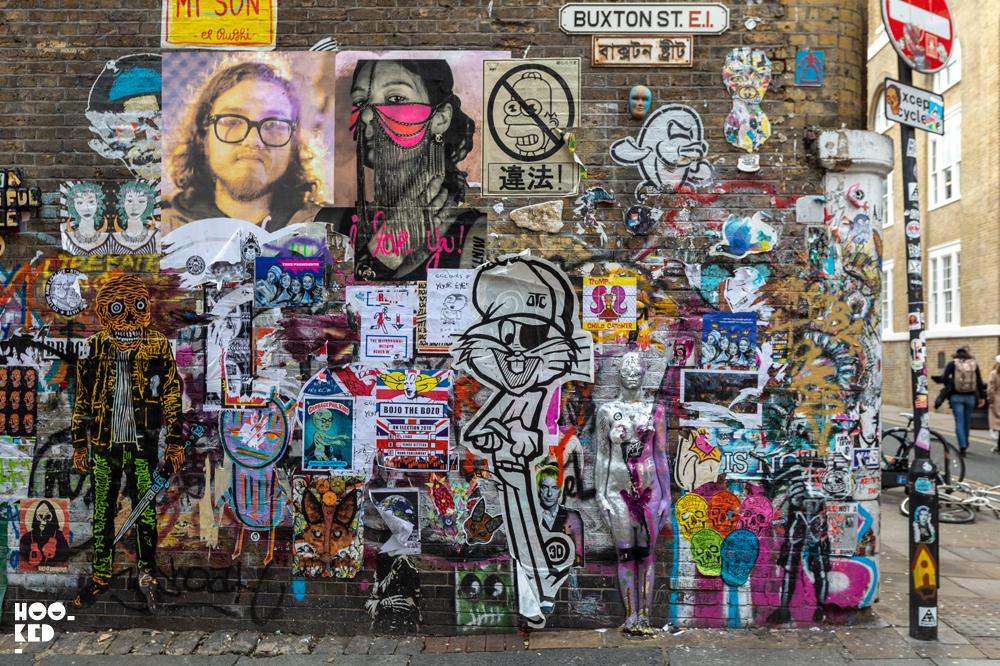 Brick Lane Street Art Paste-Ups on Buxton Street, London