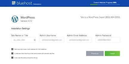 Bluehost admin username and password