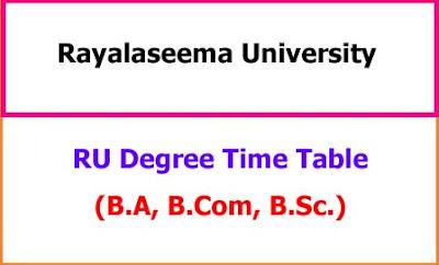 RU Degree Exam Time Table