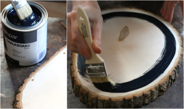 17 apart over on ehow diy rustic tree slice chalkboard for How to cut wood slices