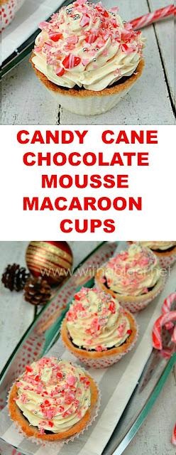 Delicious, very creamy Candy Cane Dark Chocolate Mousse with a White Chocolate topping ~ and even MORE Candy Cane in quick-to-make Macaroon Cups ! #Christmas #Dessert #CandyCane