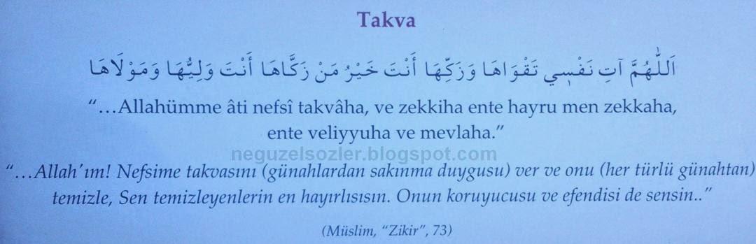 Her gün okunacak dualar/Allahtan Takva(Günahlardan sakınma duygusu )isteme duası