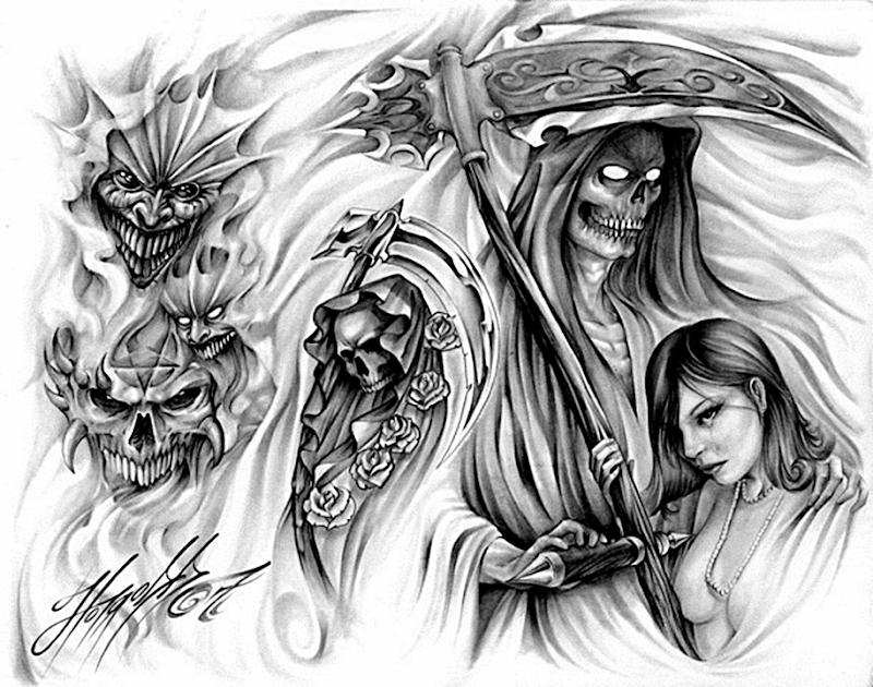 moartea cu coasa idei tatuaje cu umbre