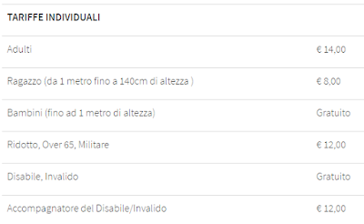 Tariffe Acquario di Livorno 2016
