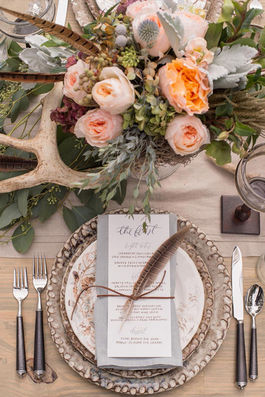 vintage Chic Bridal wedding Celebrations table setting