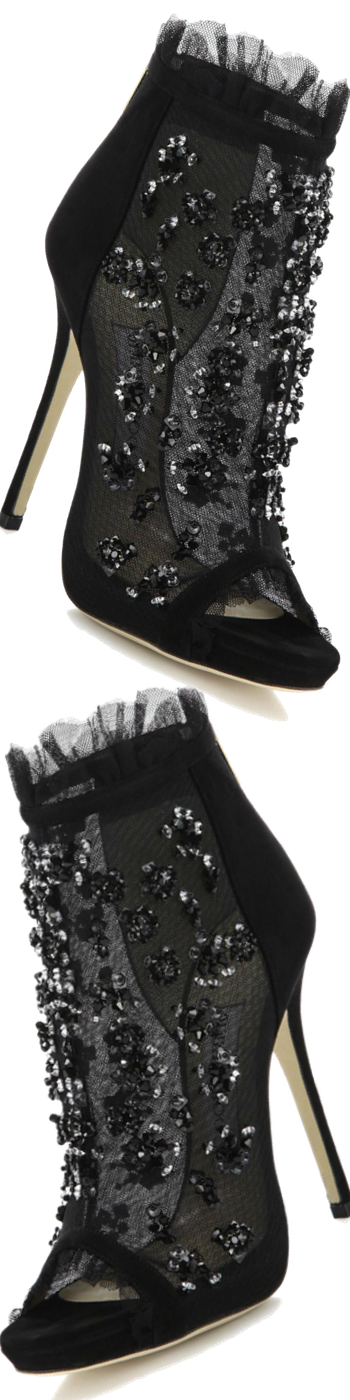 Jimmy Choo Keri Embroidered Mesh & Suede Booties Black