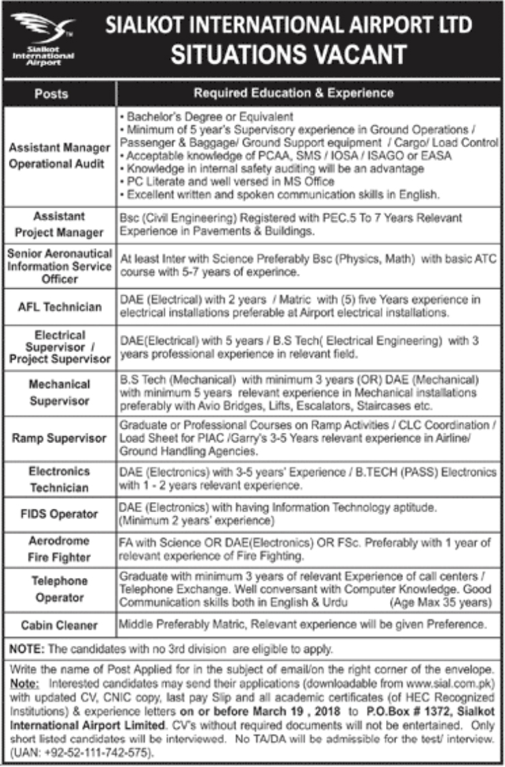 Jobs In Sialkot International Airport 2018 for Telephone Operator and others
