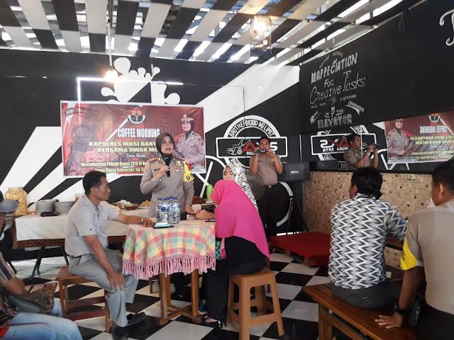 Wartawan Se Kabupaten Muba Coffee Morning Bersama AKBP Andes Purwanti dan Jajaran