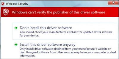 Troubleshoot Windows can't verify the publisher of this driver software