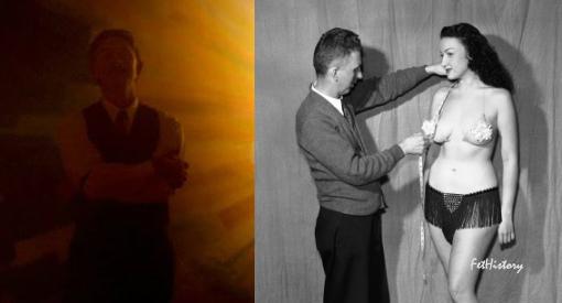 """Charles Guyette in the film, """"Professor Marston and the Wonder Women,"""" Charles Guyette in real life, Sept. 1948"""
