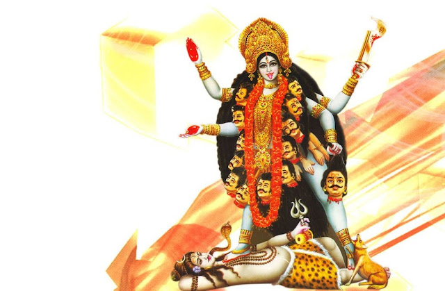 Maa Kali & Lord Shiva  Wallpaper In White Background