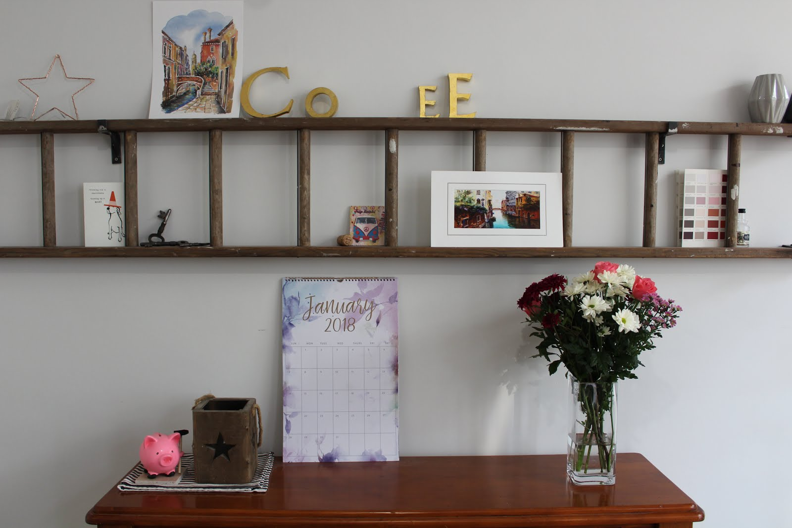DIY Wall Ladder Shelf with Art